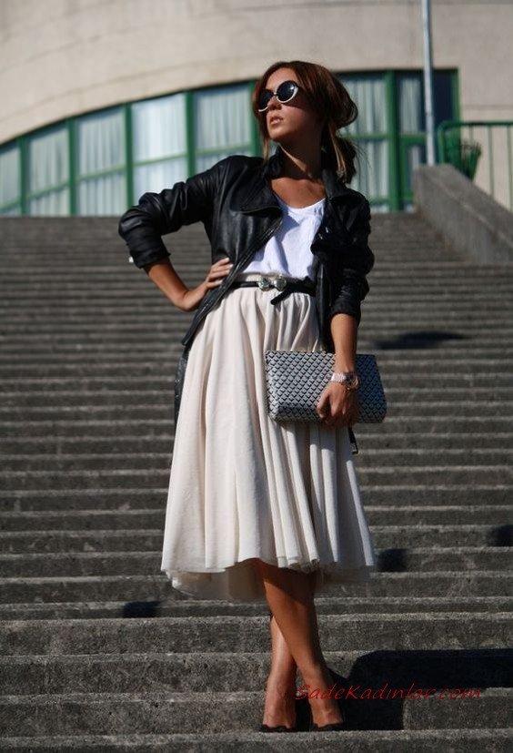 2019 Midi Etek Kombinleri Krem Midi Kloş Etek Beyaz Bluz Siyah Kısa Deri Ceket Stiletto Ayakkabı