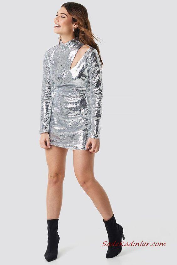 e5a2864d3c8b5 2019 Payetli Elbise Kombinleri Gümüş Kısa Uzun Kol Omuz Dekolteli Payetli  Siyah Topuklu Bot · «