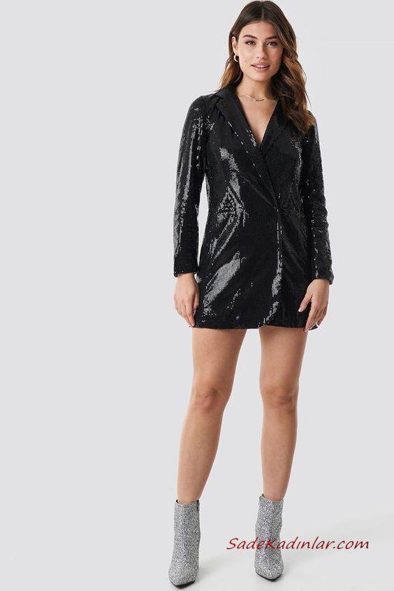 2019 Payetli Elbise Kombinleri Siyah Kısa Uzun Kol V Yakalı Payetli Gümüş Topuklu Taşlı Bot