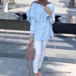 2019 Tesettür Kombinleri Beyaz Kot Pantolon Mavi Uzun Kol Fırfırlı Gömlek Pembe Babet Ayakkabı