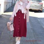 2019 Tesettür Kombinleri Bordo Uzun Düğmeli Etek Beyaz Bluz Pembe Kısa Deri Ceket Babet Ayakkabı