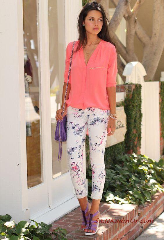 2019 Yazlık Kombinler Beyaz Çiçekli Pantolon Yavruağzı Uzun Kol Gömlek Mor Stiletto Ayakkabı