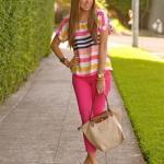 Bayanlar İçin Yazlık Kombinler Pembe Kalem Pantolon Çizgili Kısa Kol Bluz Vizon Stiletto Ayakkabı