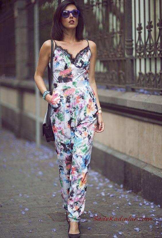 2019 Çiçekli Tulum Modelleri Beyaz Askılı Dantelli V Yakalı Çiçek Desenli Siyah Babet Ayakkabı