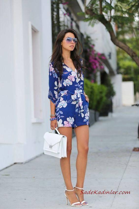 2019 Çiçekli Tulum Modelleri Saks Mavi Uzun Kol V Yakalı Çiçek Desenli Beyaz Stiletto Ayakkabı
