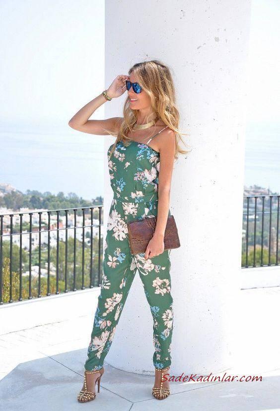 2019 Çiçekli Tulum Modelleri Yeşil İp Askılı Çiçek Desenli Gold Topuklu Ayakkabı