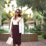 2019 İlkbahar Kombinleri Bordo Kalem Etek Beyaz Bluz Kısa Ceket Vizon Stiletto Ayakkabı