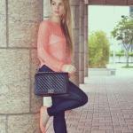 2019 İlkbahar Kombinleri Lacivert Skinny Pantolon Yavruağzı Bluz Babet Ayakkabı