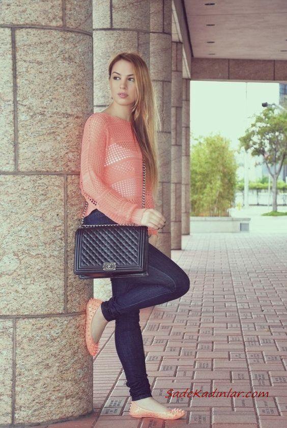 2021 İlkbahar Kombinleri Lacivert Skinny Pantolon Yavruağzı Bluz Babet Ayakkabı