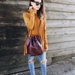 2019 İlkbahar Kombinleri Mavi Yırtık Kot Pantolon Hardal Sarı Salaş Tunik Topuklu Ayakkabı