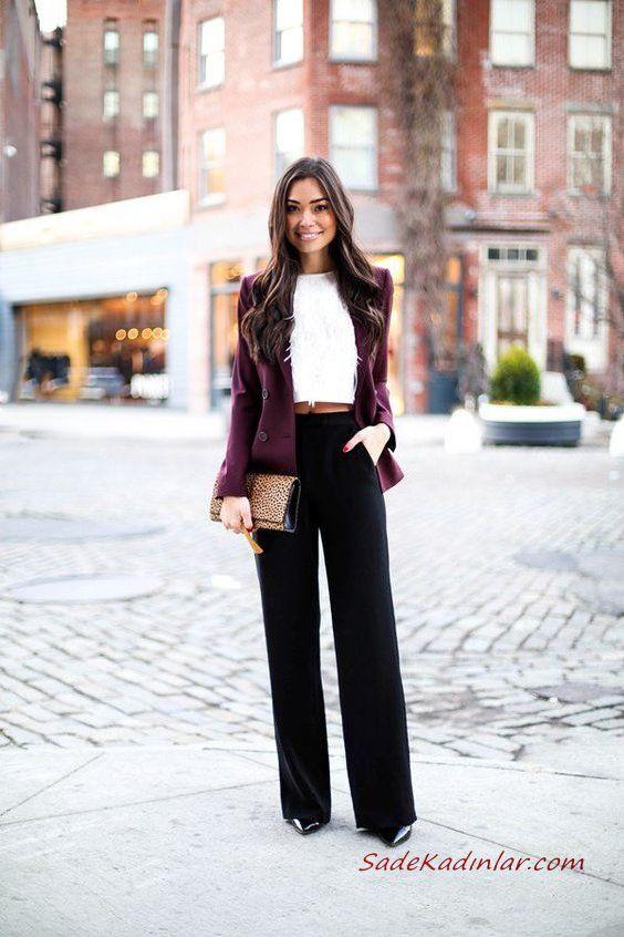2019 İlkbahar Kombinleri Siyah Bol Paça Pantolon Beyaz Bluz Bordo Kısa Ceket Siyah Stiletto Ayakkabı