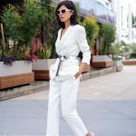 2019 Bayan Takım Elbise Kombinleri Beyaz Cepli Kalem Patolon Kısa Gri Kemerli Ceket Nude Stiletto Ayakkabı