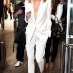 2019 Bayan Takım Elbise Kombinleri Beyaz Cepli Pantolon Vizon Bluz Beyaz Uzun Ceket Vizon Stiletto Ayakkabı