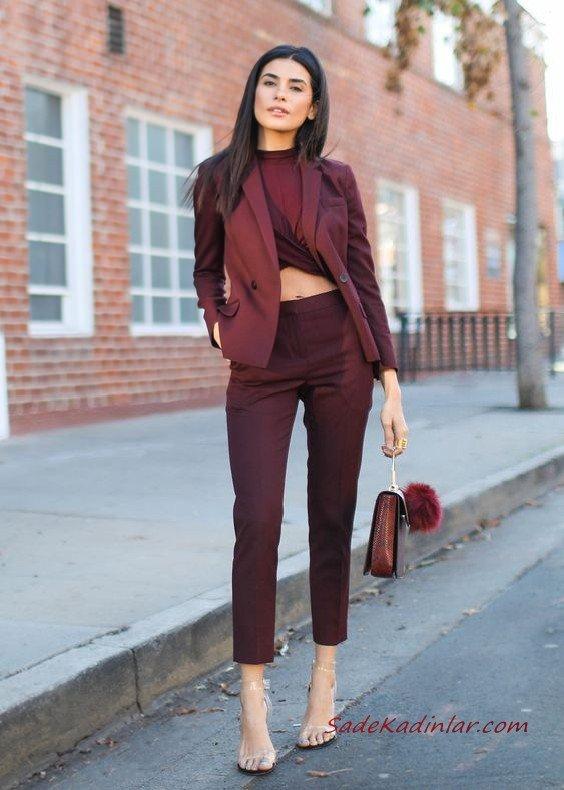 2019 Bayan Takım Elbise Kombinleri Bordo Kalem Pantolon Bluz Kısa Ceket Şeffaf Stiletto Ayakkabı Bordo El Çantası