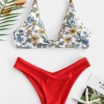 2019 Bikini Modelleri Askılı V Yakalı İki Renk Desenli