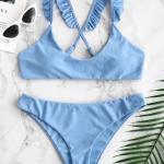 2019 Bikini Modelleri Bebek Mavisi Askılı Fırfır Detaylı Sade