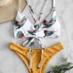 2019 Bikini Modelleri Beyaz İp Askılı Kuş Baskı Desenli