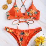 2019 Bikini Modelleri Turuncu İp Askılı Portakal Baskı Desenli