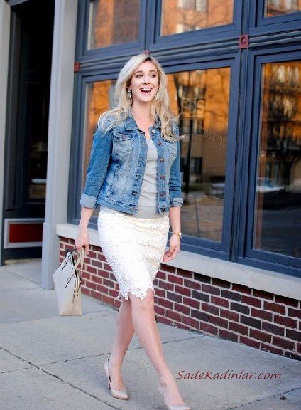 2019 Dantel Etek Kombinleri Beyaz Dizboyu Dantel Etek Gri Bluz Mavi Kısa Kot Ceket Vizon Stiletto Ayakkabı