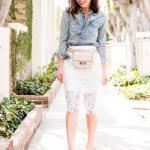 2019 Dantel Etek Kombinleri Beyaz Dizboyu Dantel Etek Mavi Uzun Kollu Kot Gömlek Vizon Stiletto Ayakkabı