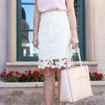 2019 Dantel Etek Kombinleri Beyaz Dizboyu Dantel Etek Pudra Kısa Kol Saten Bluz Topuklu Ayakkabı