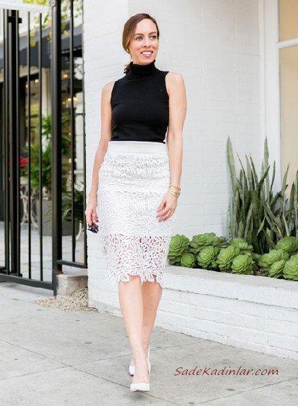 2019 Dantel Etek Kombinleri Beyaz Dizboyu Dantel Etek Siyah Kolsuz Bluz Beyaz Stiletto Ayakkabı