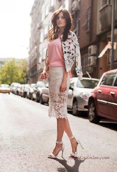 2019 Dantel Etek Kombinleri Beyaz Midi Dantel Etek Pembe Bluz Beyaz Desenli Bomber Ceket Topuklu Ayakkabı