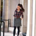 2020 Ekose Gömlek Kombinleri Gri Kısa Cepli Etek Siyah Ekose Desenli Gömlek Stiletto Ayakkabı