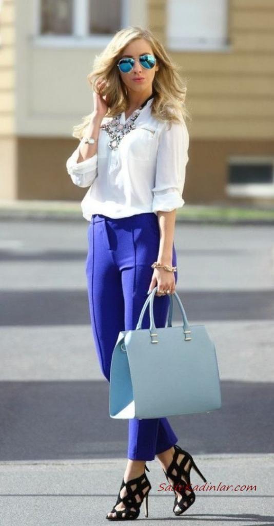 2019 Kıyafet Kombinleri Saks Mavi Pantolon Beyaz Uzun Kollu Gömlek Siyah Stiletto Ayakkabı