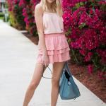 2019 Pembe Kıyafetler Pembe Kısa Kloş Katmanlı Etek Askılı Bluz Babet Ayakkabı