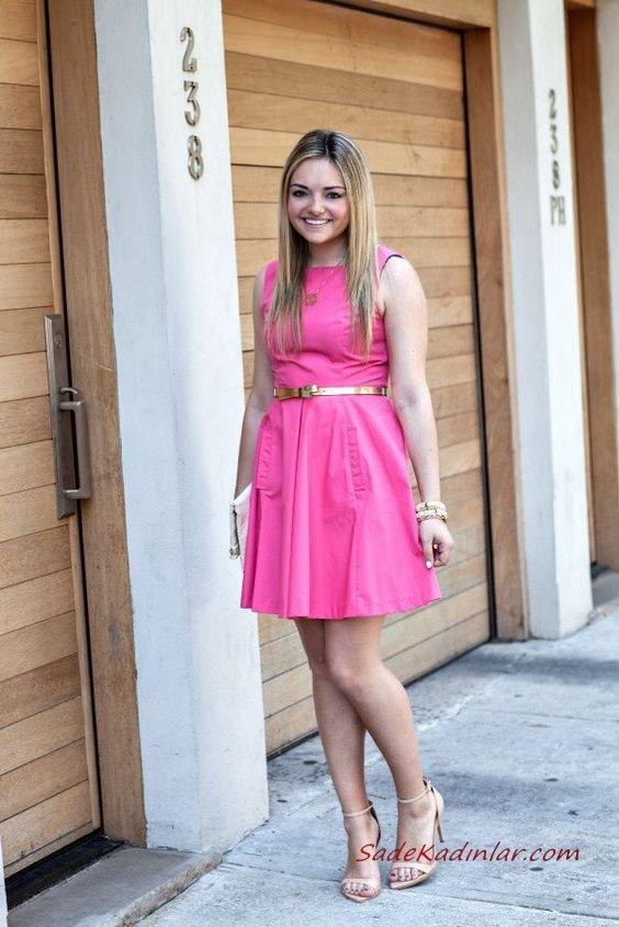 2019 Pembe Kıyafetler Pembe Kısa Kolsuz Kayık Yaka Kloş Etekli Elbise Vizon Stiletto Ayakkabı