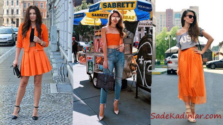 2019 Sokak Modası Trendi Turuncu Kıyafet Kombinleri