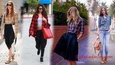 Günlük En Şık Bayan Ekose Gömlek Kombinleri 2019