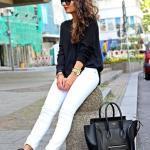 2019 Bayan Spor Kombinler Beyaz Skinny Pantolon Siyah Uzun Kol Bluz Spor Ayakkabı
