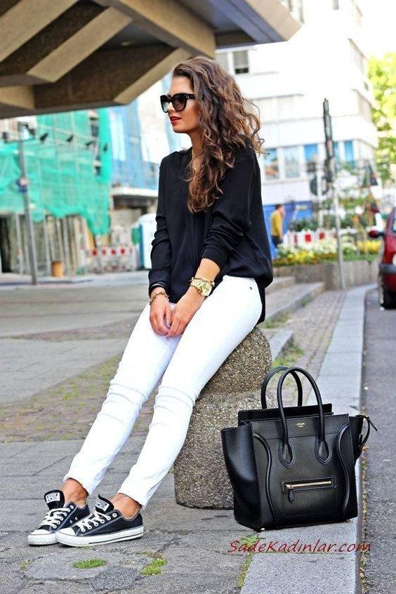 2019 Spor Kombinler Beyaz Skinny Pantolon Siyah Uzun Kol Bluz Spor Ayakkabı