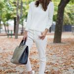 2019 Bayan Spor Kombinler Krem Kalem Pantolon Uzun Kol Bluz Beyaz Spor Ayakkabı