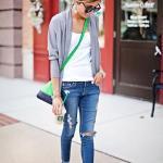 2019 Bayan Spor Kombinler Lacivert Yırtık Kot Pantolon Beyaz Bluz Gri Hırka Beyaz Spor Ayakkabı