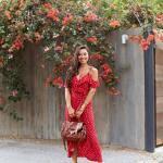 2020 Yaz Stili Uzun Elbise Kombinleri Kırmızı Askılı V Yaka Desenli Elbise Kahverengi Topuklu Ayakkabı