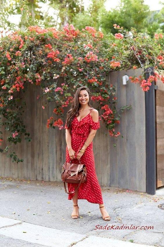 2019 Uzun Elbise Kombinleri Kırmızı Askılı V Yaka Desenli Elbise Kahverengi Topuklu Ayakkabı