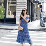 2020 Yaz Stili Uzun Elbise Kombinleri Mavi Uzun İp Askılı V Yakalı Desenli Elbise Vizon Topuklu Ayakkabı