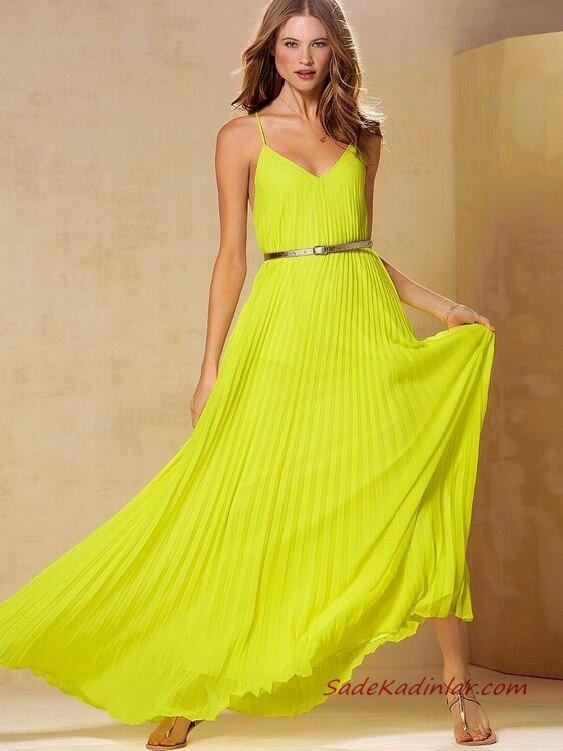 2019 Uzun Elbise Kombinleri Neon Sarı Uzun Askılı V Yaka Pileli Elbise Gold Parmak Arası Sandalet