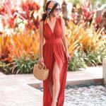 2020 Yaz Stili Uzun Elbise Kombinleri Turuncu Uzun Askılı V Yakalı Yırtmaçlı Elbise Vizon Dolgu Topuklu Ayakkabı