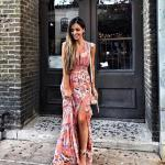 2020 Yaz Stili Uzun Elbise Kombinleri Turuncu Uzun V Yaka Japone Kol Yırtmaçlı Desenli Elbise Vizon Topuklu Ayakkabı