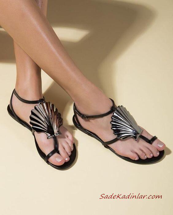 2019 Yazlık Ayakkabı Modelleri Gümüş Parmak Arası Tokalı Sandalet