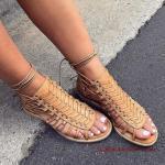 2019 Yazlık Ayakkabı Modelleri Kahverengi Bilekten Bağcıklı Sandalet