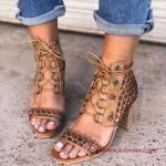 2019 Yazlık Ayakkabı Modelleri Kahverengid Bağcıklı Topuklu