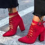 2019 Yazlık Ayakkabı Modelleri Kırmızı Bağcıklı Tokalı Nubuk