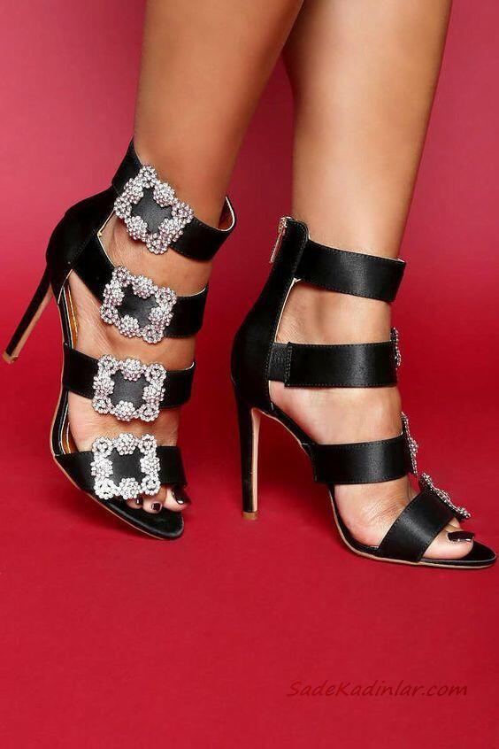 2019 Yazlık Ayakkabı Modelleri Siyah Bantlı Toka Aksesuarlı Fermuarlı