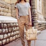 2020 Şalvar Pantolon Kombinleri Kahverengi Pantolon Gri Kısa Kol Bluz Siyah Stiletto Ayakkabı