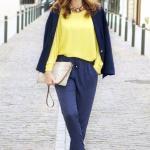 2020 Şalvar Pantolon Kombinleri Lacivert Cepli Pantolon Sarı Bluz Lacivert Ceket Gold Stiletto Ayakkabı